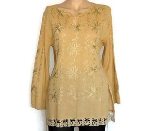 Embroidered  Beige  Blouse  cotton Long Sleeve  Upcycle Recycle,