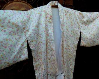 REDUCED, Vintage Floral Kimono, Japanese Kimono, Asian