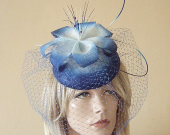 "Royal Blue White Fasinator Hatinator Formal Hat Veiled and Crystal Kentucky Derby Headpiece ""Narcissa"" Mother of the Bride / Groom Wedding"
