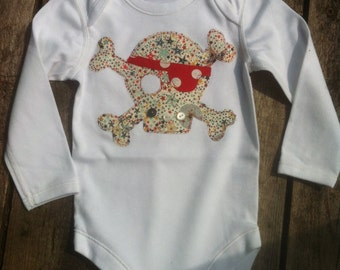 Baby boy Pirate onesie/ babygro skull and crossbone Liberty star print