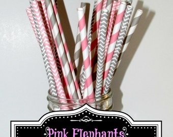 Pink and Grey Chevron and Stripe Paper straws