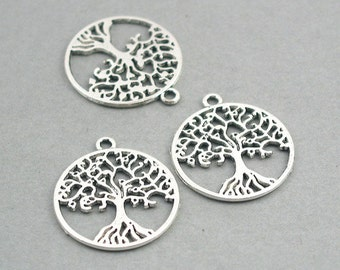 Tree of Life Charms 6pcs Antique Silver Antique Bronze zinc alloy pendant beads 25mm CM0739S CM0739B