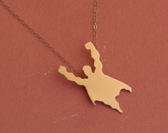 Super Hero Necklace , Flying Man Silhouette Charm , Superhero Jewelry , Gift Idea , Superman Jewelry , Superman Necklace , FREE SHIPPING
