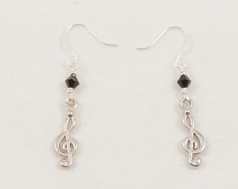 SALE Musical Earrings - Silver Treble Clef Music Lover's Earrings - Black Swarovski Crystal Dangle Earrings - Safe for Sensitive Ears
