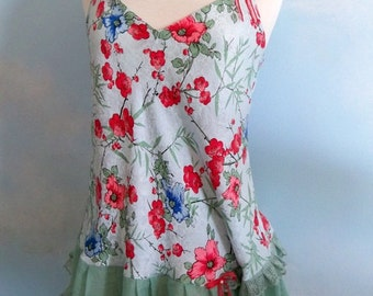 SALE  Medium Floral silk top, boho chic clothing, festival, silk camisole, flirty top, Bohemian, Blue green lace camisole top, gypsy top,