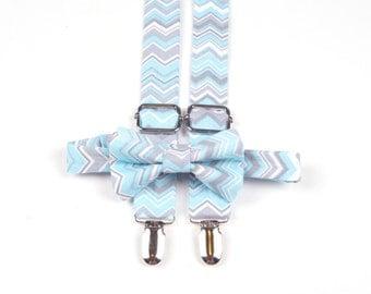 Aqua and Grey Chevron Bow Tie & Suspenders Set - Baby Toddler Child Boys  - Wedding