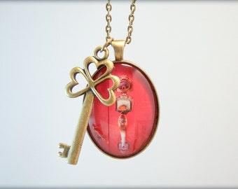 Red Door Skeleton Key Gold Photograph Pendant On Chain Necklace Original Handmade valentines