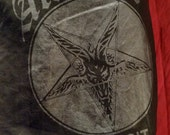 PUNK WITCH Faux Leather Zip Skirt with Baphomet Logo One and Only