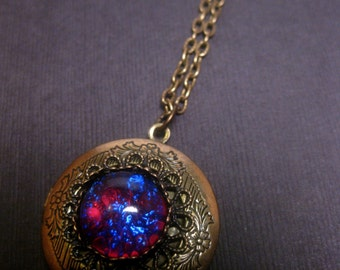 Fire Opal Necklace - Locket - Dragons Breath - Bronze - Choose Your Chain Length - Christmas Gift