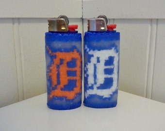Detroit D Perler Bead LIGHTER CASE - opening day - detroit tigers - mlb - old english D - michigan - orange or white