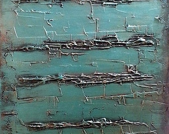Large Abstract Painting on Canvas - Teal Painting - Teal Home Decor - Original Textured Painting on Canvas - 24x48 Teal Wall Art