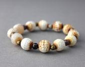 white chunky bracelet gold white gemstone bracelet agate bracelet stretch bracelet purple white and gold