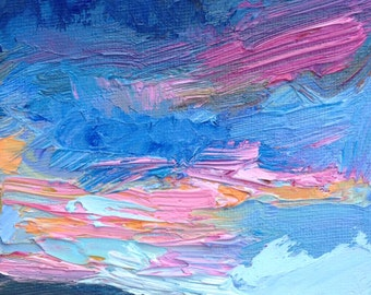 """Original 4"""" x 4"""" oil painting, skyscape, thick, impasto brushstrokes, sky, clouds, land small fine art."""