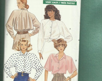 Vintage 1988 Butterick 3029 Dramatic Back Cape Blouses with Deep Cut Raglan Sleeves Sizes 18.20