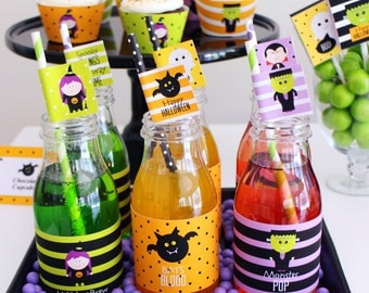 HALLOWEEN Printable Bottle Labels and Straw Flags. Trick or Treat? Print Your Own.