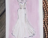 Custom wedding dress painting - with date