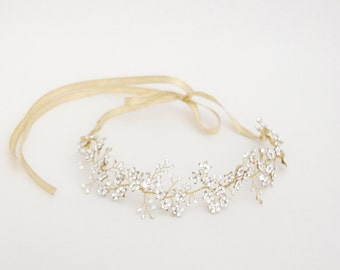 Bridal hair vine, crystal flower halo, wedding headband, bride forehead band, crystal hair jewel, hair accessories, gold,silver,rose - Anais