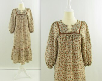 Festival Dress - Vintage 1970s Boho Peasant Dress in Brown Floral Paisley - Medium Large