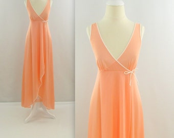 Peach Sorbet Nightgown - Vintage 1970s Hi Low Wrap Nightie in Apricot - Small by Kayser