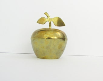 Vintage Brass Apple Trinket Box - Fall Harvest Dish