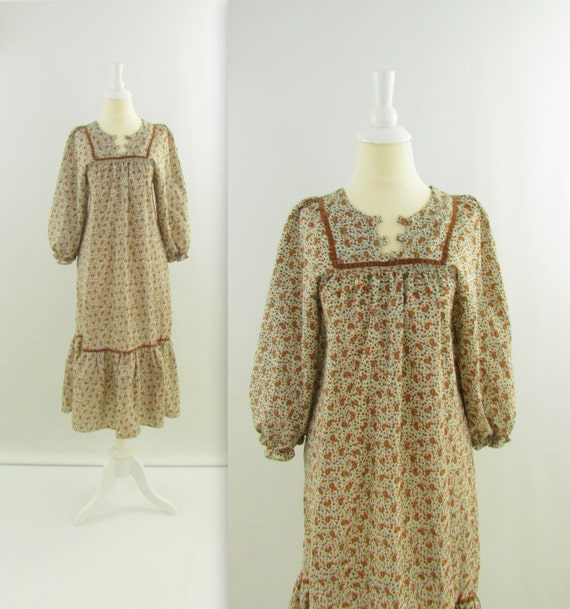 Sale Festival Dress - Vintage 1970s Boho Peasant Dress in Brown Floral Paisley - Medium Large