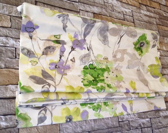 Flat Roman Shade Window Treatment| Custom Made in Floral Fabric | Designer Quality