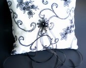 Black and White Sheer Ring Pillow and Basket with Velvet Tapestry Design five streaming organza ties