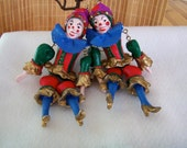 "Vintage 60's  ""MARIONETTE ORNAMENTS"" 2 Large Hand Painted Girl Marionette Puppets"