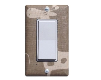 Giraffe Nursery Decor / Tan Maple and White Rocker Decora Light Switch Plate / Baby Gender Neutral / Gisella Stretch Premier Prints