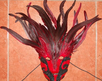 Feather Red and Black Mask Signed Wearable or Display- One of a kind