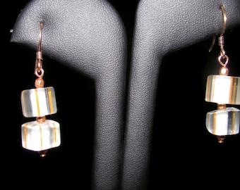 Clear Cane Glass Earrings (E49)