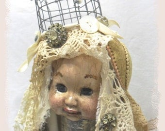 Art doll, repurposed, recycled, assemblage,altered, Nun, Angel, grunge, shabby