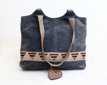 Vintage 70's Blue Suede Tribal Handbag