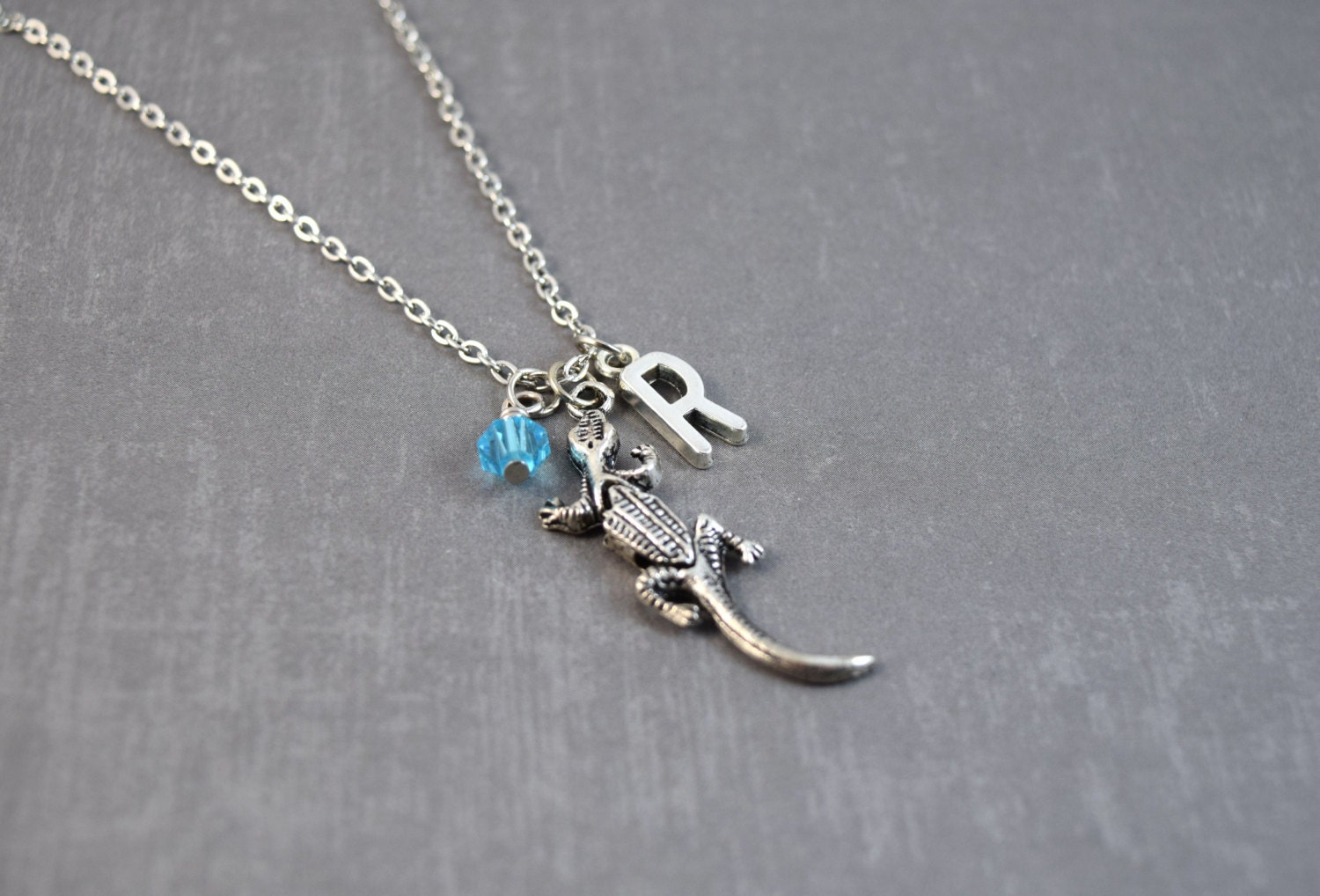 lizard necklace reptile jewelry personalized by doodiebear