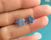 Pressed Flower Earrings - Forget me not - Sterling Silver 925