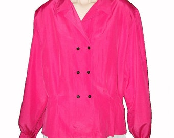 Blouse Size 16 Chaus Pink Long Sleeve Double Breasted Polyester Plus Size SALE