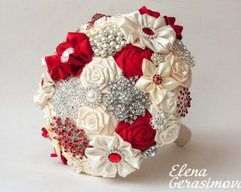 Brooch Bouquet. Ivory RED Fabric Bouquet, Unique Wedding Bridal Bouquet