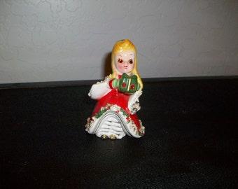 Spaghetti Trim Jewel Eye Kreiss Figurine  Shopper Girl Lady Bell Porcelain  Holiday Christmas 1950