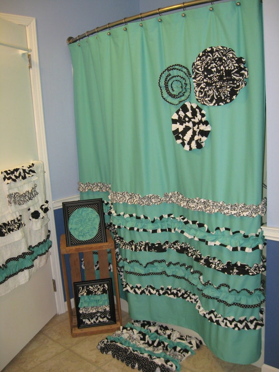 Items Similar To Bathroom Set Shower Curtain Towels Wall Art Pictures Rug Custom Fabric Ruffles Flowers 9 Piece Black White Aqua Marine Teal Turquoise Dots