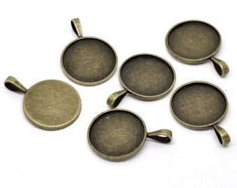 Bronze Cabochon Settings - Holds 25mm - 39x27mm - 3pcs - Ships IMMEDIATELY from California - BC711
