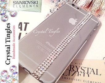 Modern Simple and Elegant Design For iPhone 6 5 5S Made with White Swarovski Elements Crystal Back Cover Hard Case
