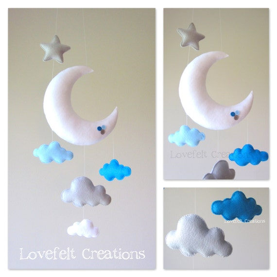baby mobile moon mobile cloud mobile owl baby mobile. Black Bedroom Furniture Sets. Home Design Ideas