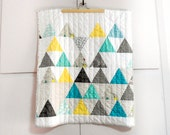 Modern Triangle Patchwork baby stroller quilt, Aqua/yellow/grey/white, made to order, Custom quilt, shower gift idea, Christmas gift idea
