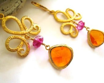 Orange Raspberry Pink Earrings Faceted Czech Glass Earring Winter Fall Style Trends Wedding Jewelry Bridesmaids Gift Idea Colorful Jewelry