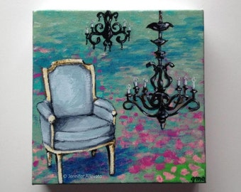 Chair interior landscape home decor original painting  - Sitting in Fields of Waterlilies