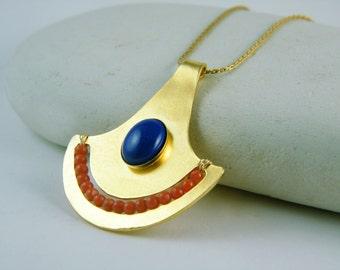 Lapis lazuli pendant coral gold necklace bohemian necklace Egyptian jewelry