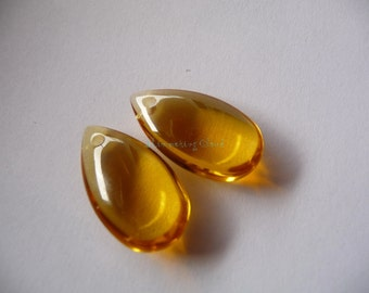 Briolette, amber, deep yellow, orange,smooth, unusual size, 21 mm x 12 mm, pear, big, teardrop, drop, beads, pair, crystal, glass
