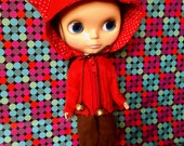 EXCLUSIVE DESIGNS. Red kitten Hoodie Jacket for Blythe