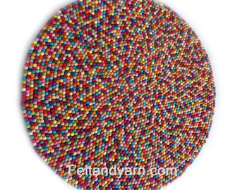 Felt Ball Rugs In 14 Colors Without White, Handmade Felt Rugs, Felted Rugs,