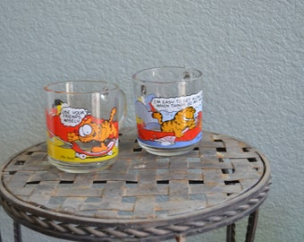 1970s set of TWO McDonald's glass GARFIELD colored mugs
